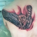 realistic owl tattoo on the back of the shoulder