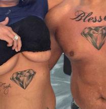 Stel dat samen een diamant heeft laten zetten op de borst/buik