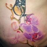 gele vlinder met paarse orchideen tatoeage