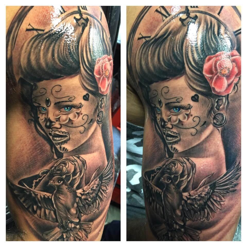 Tattoo Sleeve Vrouw Rozen Tatoeëren
