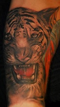 Donkergekleurde tijger tattoo met een rode gloed.