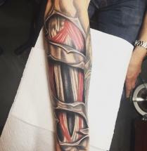 Spieren en botten op onderarm