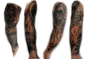 Voorbeeld van sleeve, Sleeve over de gehele benen en armen.