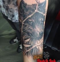 Honden portret op onderarm