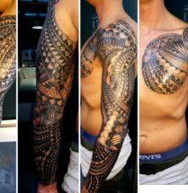 Maori tattoo op borst en arm